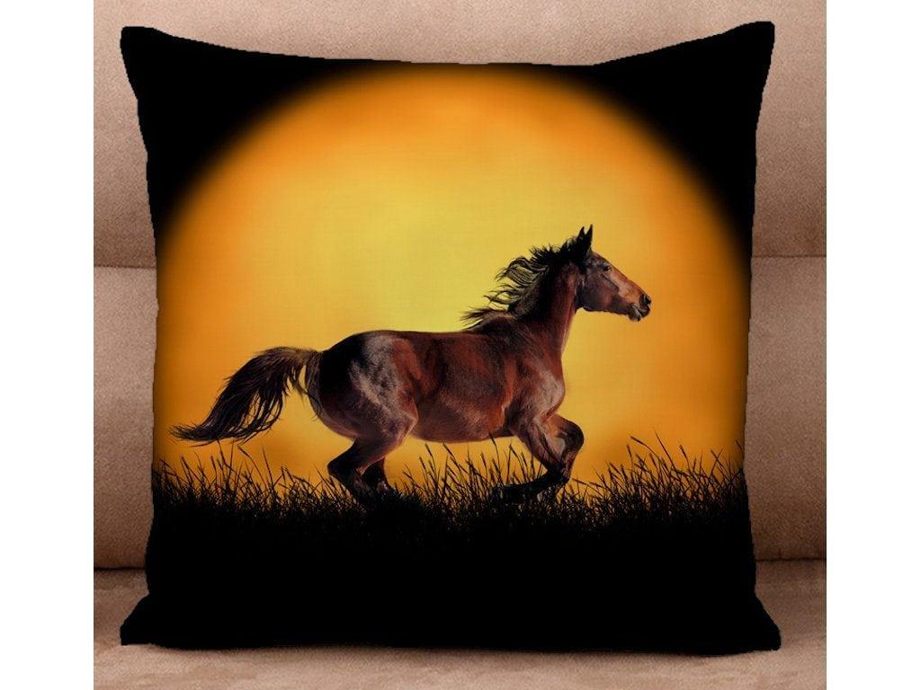 Cushion Cover - Horse Run Against a Golden Moon