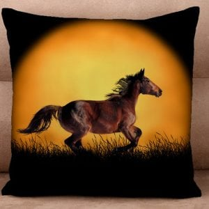 Cushion Cover - Horse Run Against a Golden Moon