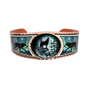 Handcrafted Wolf and Moon Bracelet