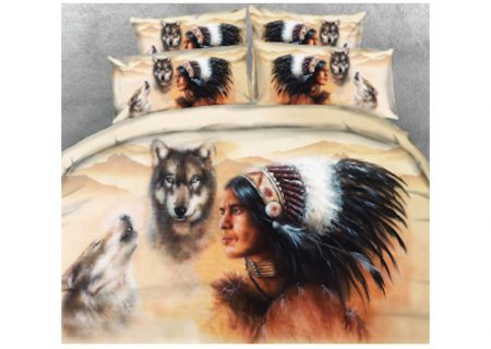 Bedding Set - Indian Brave with Wolves