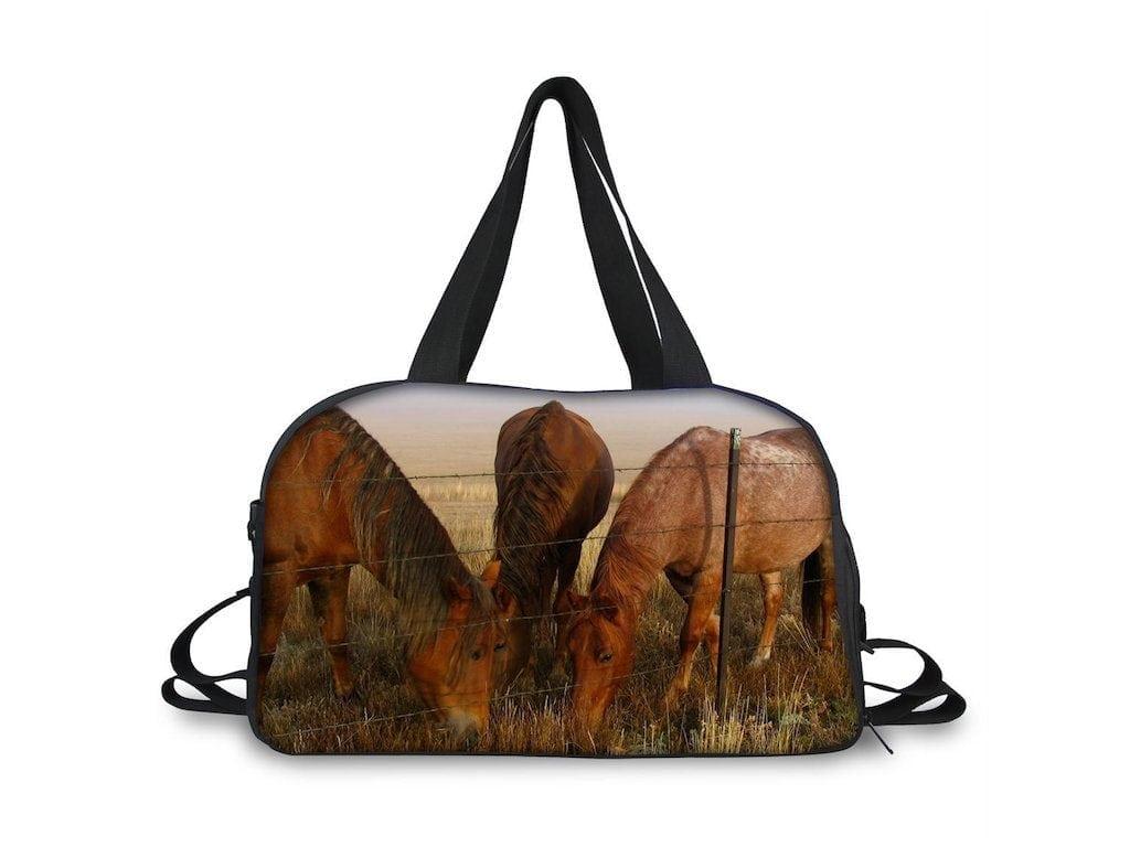 Lovely Overnight/Travel Bag with Horses grazing