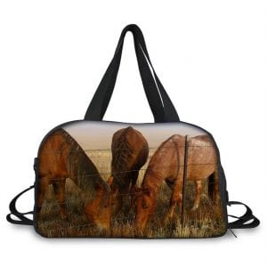 Lovely Overnight/Travel Bag with Horses grazing