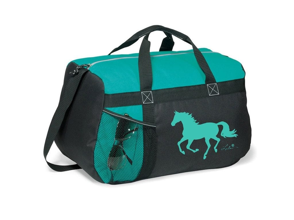 Overnight / Travel Turquoise Bag with Horse Silhouette