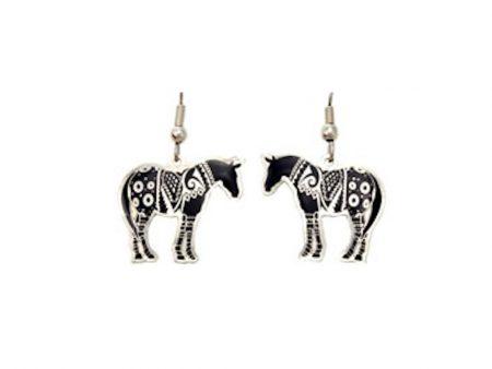 Silver and Black Enamel Horse Earrings