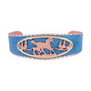Sky Blue Patina Mare and Foal Cut Out Bracelet