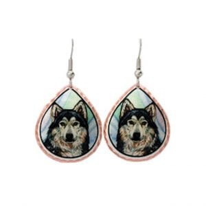 Colourful Grey Wolf Earrings