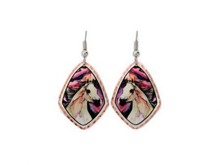 Colourful Lightening Horse Earrings