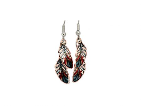 Handcrafted Double Feather Copper Earrings