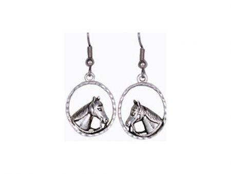 Silver Horse Head Earrings
