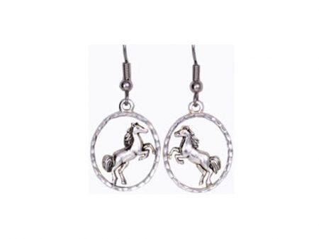 Silver Rearing Horse Earrings