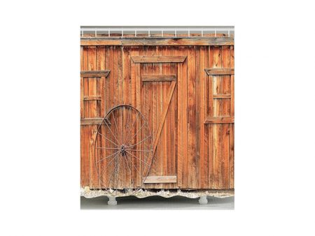 Shower Curtain - Rustic Wall and Wheel