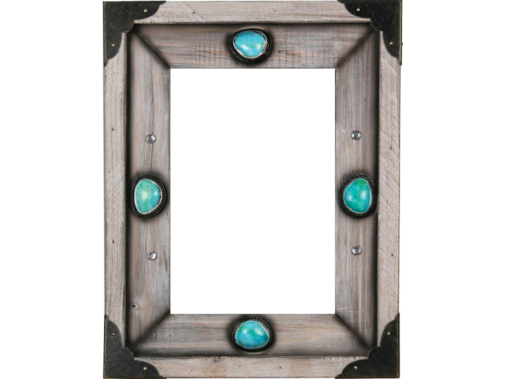 Western Wood Turquoise Photo Frame - Gallop-n-Gifts