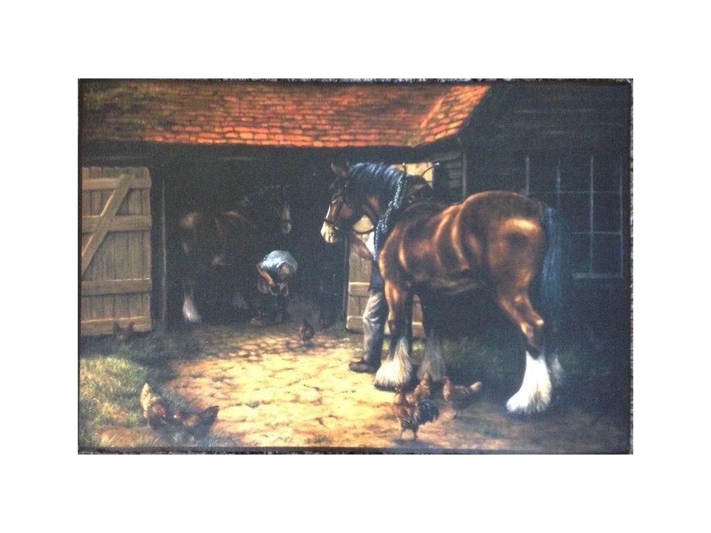 Blacksmith Shoeing Heavy Horses Indoor / Outdoor Mat