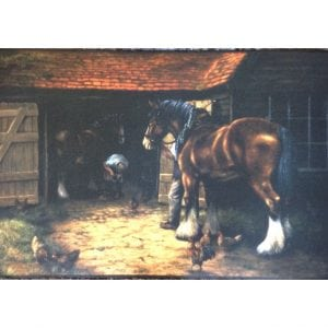 Blacksmith Shoeing Heavy Horses Indoor / Outdoor Mat