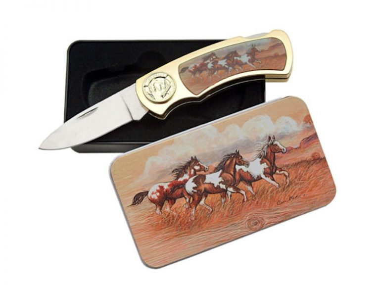 Folding Knife with horses in matching tin