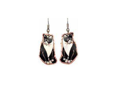Black & White Sitting Cat Earrings
