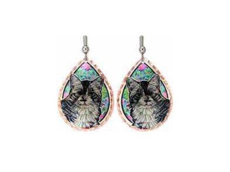 Cat & Flowers Art Earrings